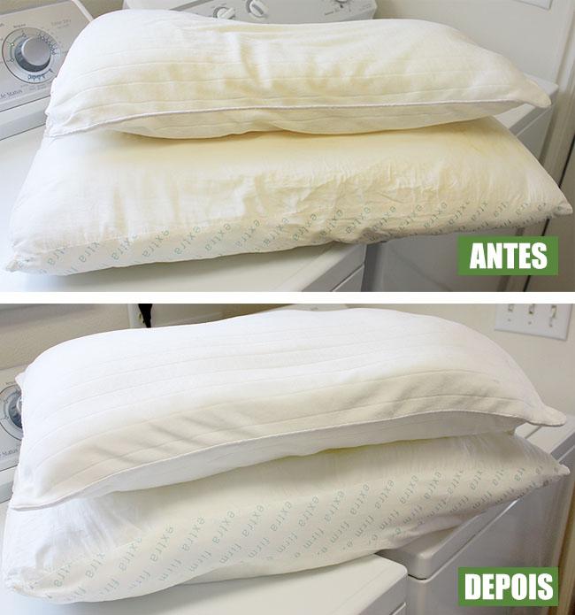 Como tirar manchas do travesseiro ANTES DEPOIS
