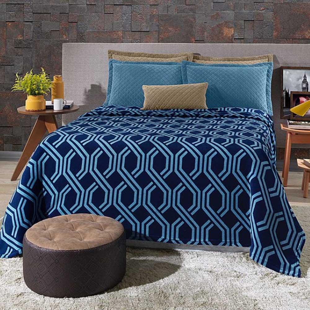 cobertor azul geométrico